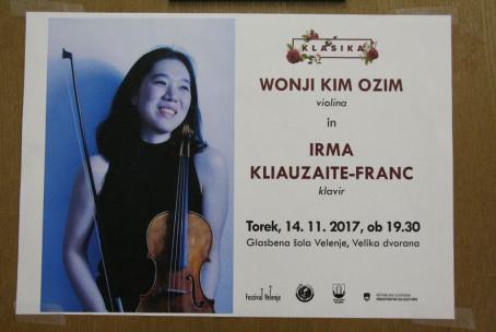 Wonji Kim Ozim, violina in Irma Kliauzaite-Franc, klavir - 2. koncert abonmaja Klasika