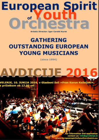 Avdicija za sodelovanje v mednarodnem mladinskem simfoničnem orkestru pri projektu ESYO