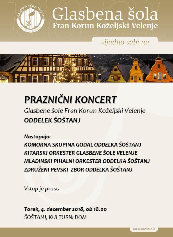 Praznični koncert oddelka Šoštanj