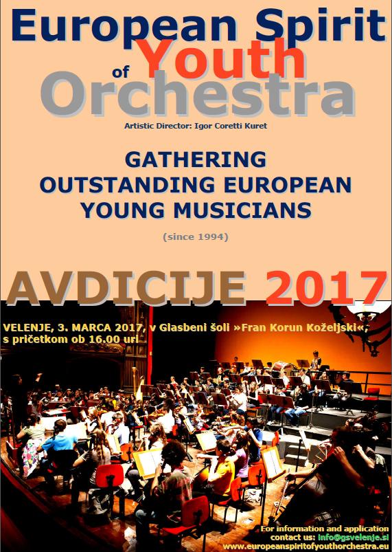 Avdicija za orkester EYSO bo v Velenju