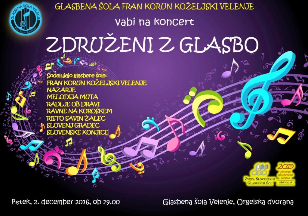 Združeni z glasbo, koncert v sodelovanju s sosednjimi glasbenimi šolami - v petek, 2. decembra 2016