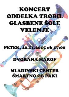 Koncert trobilcev Glasbene šole Velenje v Šmartnem ob Paki