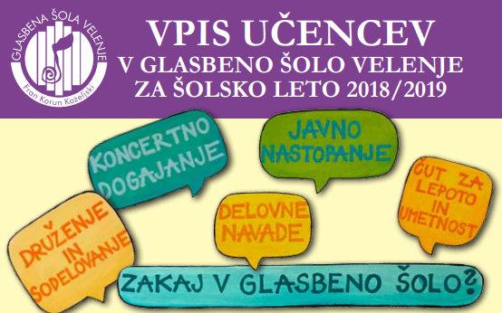Vpis učencev v Glasbeno šolo Velenje za šolsko leto 2018/2019
